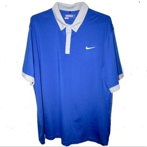 Blue short sleeve golf Nike shirt